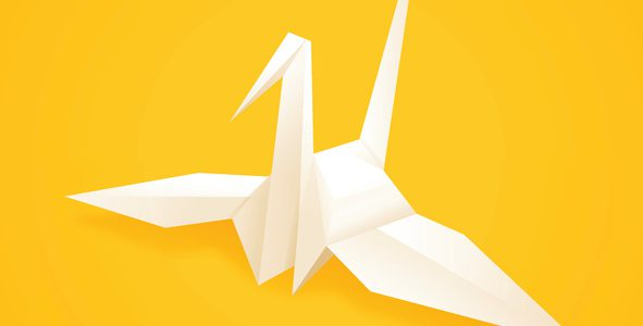 Paper origami crane concept. EPS 10 file. Transparency effects used on highlight elements.